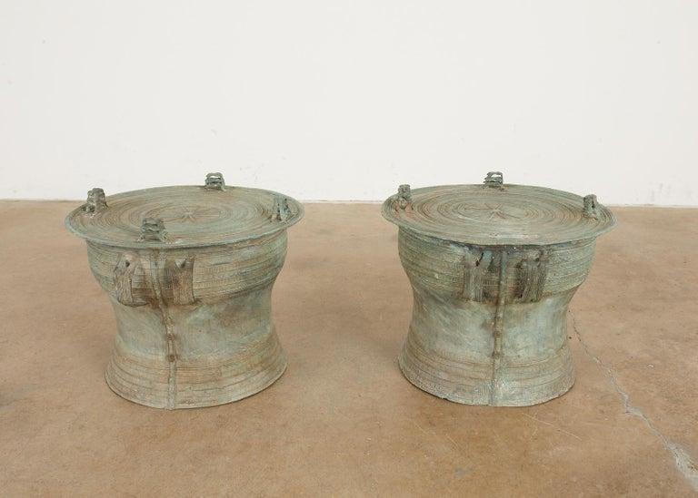 Pair of Burmese Bronze Rain Drum Drink Tables For Sale 6