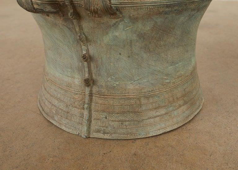 Pair of Burmese Bronze Rain Drum Drink Tables For Sale 7