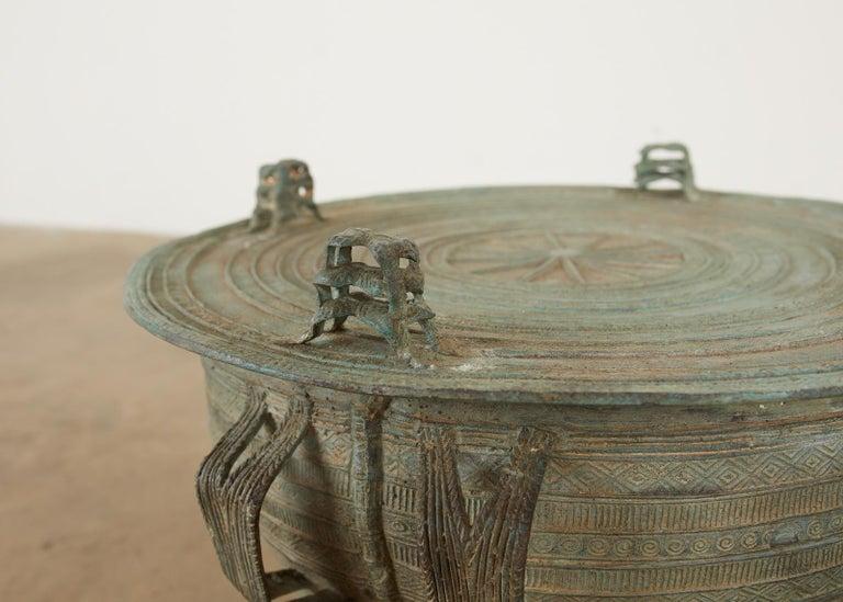 Pair of Burmese Bronze Rain Drum Drink Tables For Sale 8