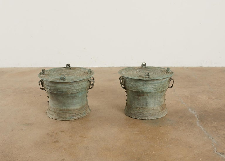 Pair of Burmese Bronze Rain Drum Drink Tables For Sale 10