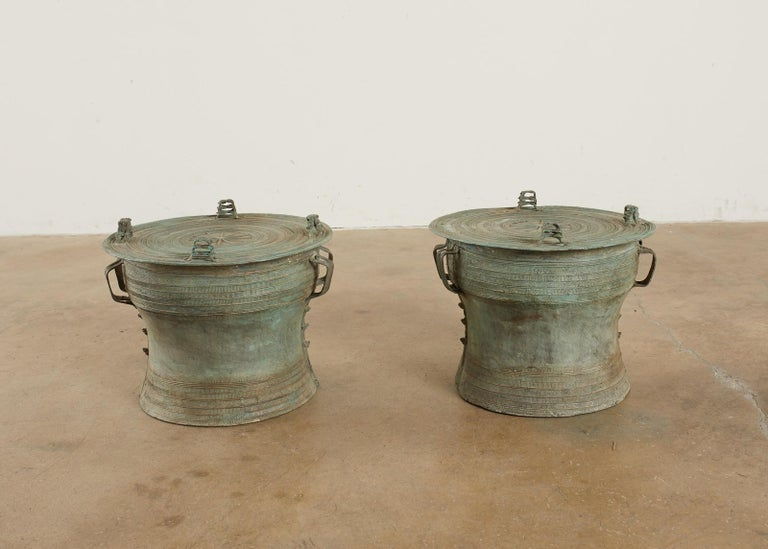 Tribal Pair of Burmese Bronze Rain Drum Drink Tables For Sale