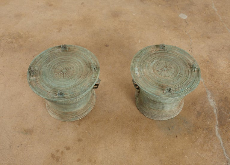 Hand-Crafted Pair of Burmese Bronze Rain Drum Drink Tables For Sale