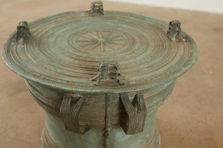 20th Century Pair of Burmese Bronze Rain Drum Drink Tables For Sale