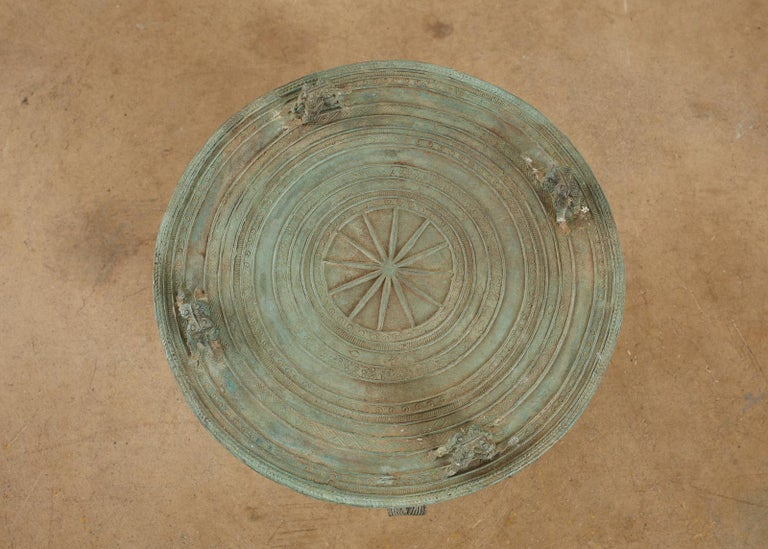 Pair of Burmese Bronze Rain Drum Drink Tables For Sale 1