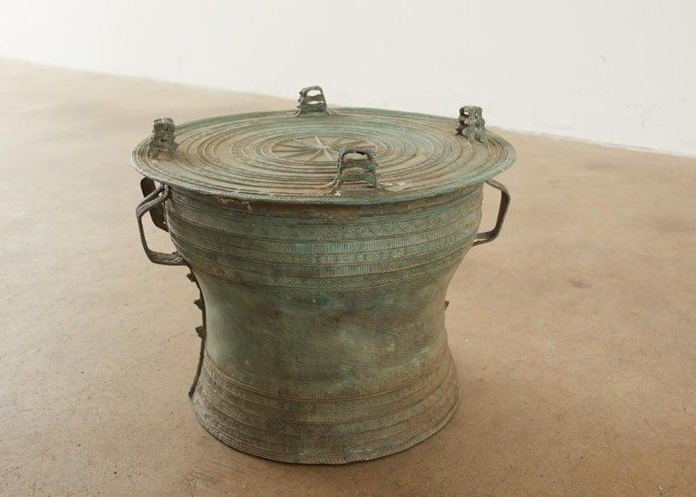 Pair of Burmese Bronze Rain Drum Drink Tables For Sale 2
