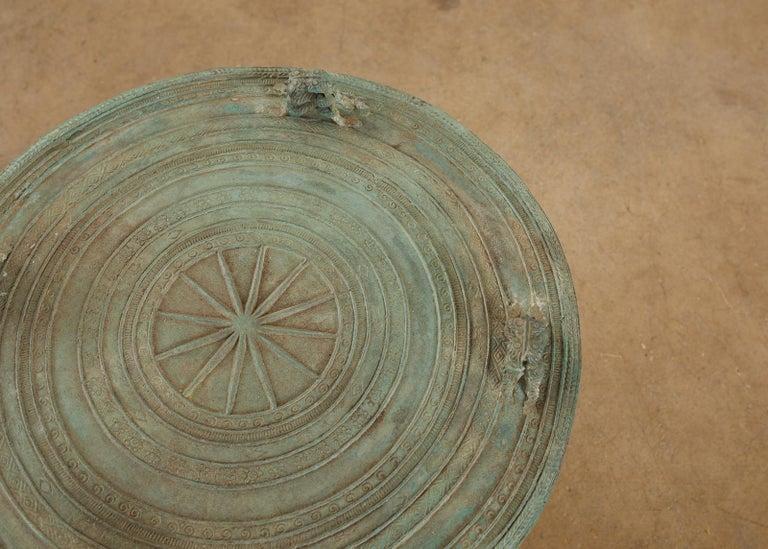 Pair of Burmese Bronze Rain Drum Drink Tables For Sale 3