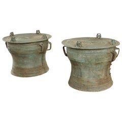 Pair of Burmese Bronze Rain Drum Drink Tables