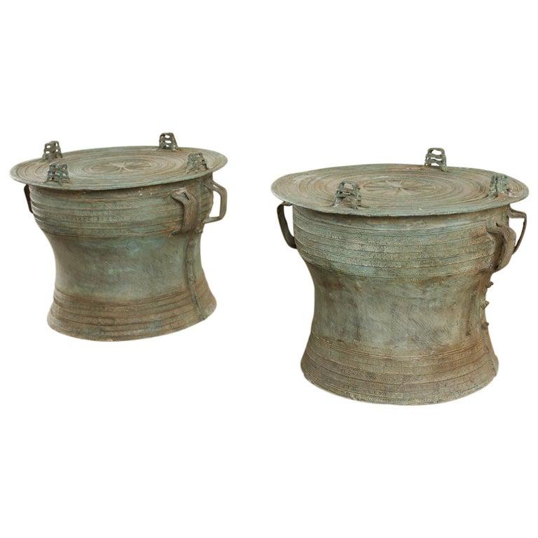 Pair of Burmese Bronze Rain Drum Drink Tables For Sale
