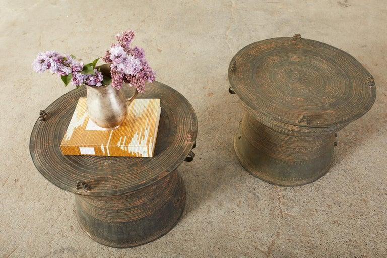 Pair of Burmese Bronze Rain Drums or Frog Drum Tables For Sale 3
