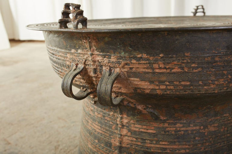 Pair of Burmese Bronze Rain Drums or Frog Drum Tables For Sale 5