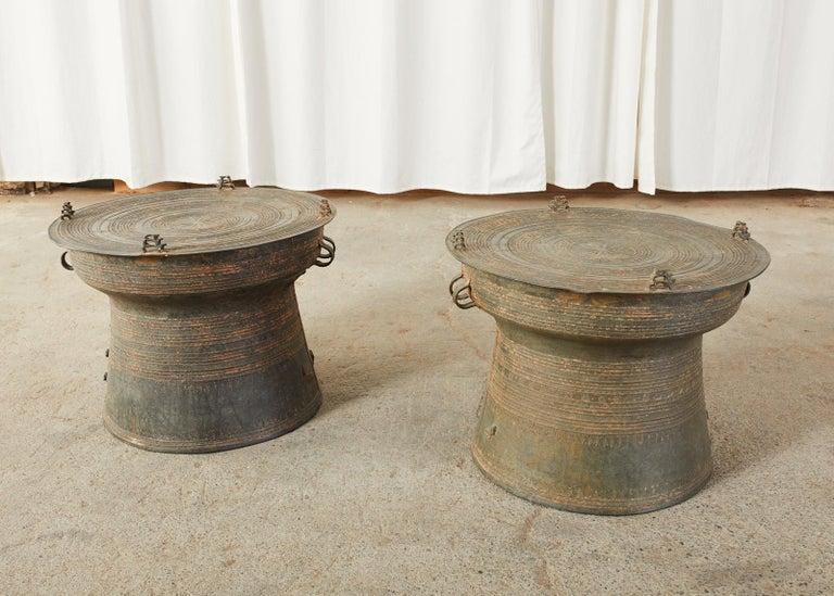 Pair of Burmese Bronze Rain Drums or Frog Drum Tables For Sale 6