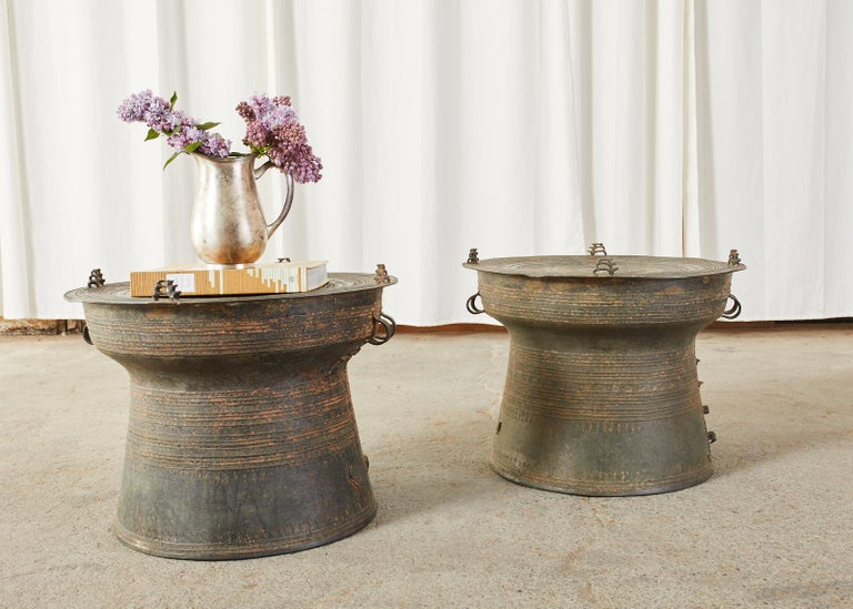 Pair of Burmese Bronze Rain Drums or Frog Drum Tables For Sale 8