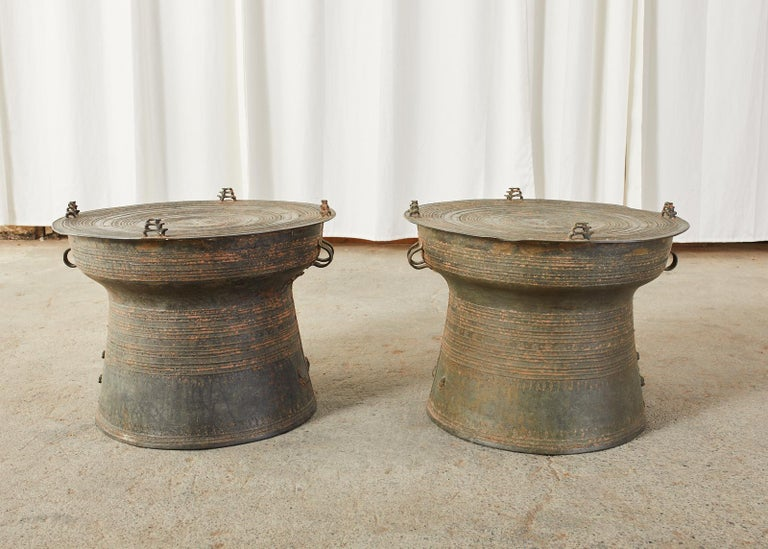 Pair of Burmese Bronze Rain Drums or Frog Drum Tables For Sale 9