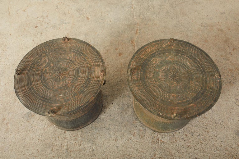 Pair of Burmese Bronze Rain Drums or Frog Drum Tables For Sale 10