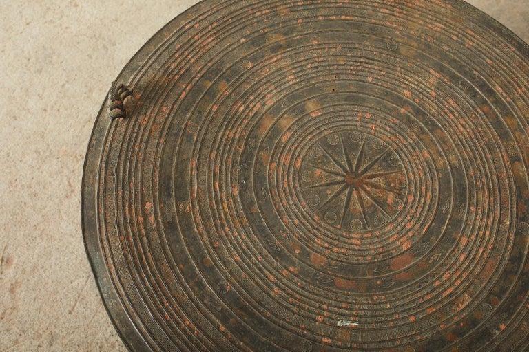 Pair of Burmese Bronze Rain Drums or Frog Drum Tables For Sale 11