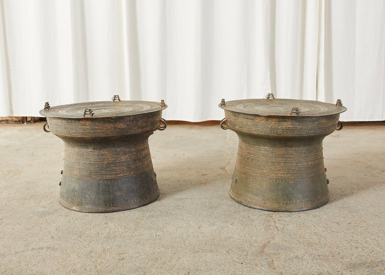 Tribal Pair of Burmese Bronze Rain Drums or Frog Drum Tables For Sale