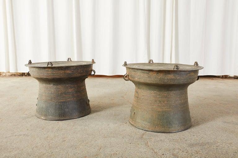 Cast Pair of Burmese Bronze Rain Drums or Frog Drum Tables For Sale