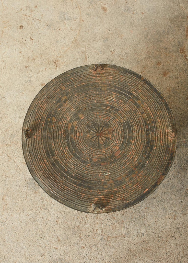 Pair of Burmese Bronze Rain Drums or Frog Drum Tables In Distressed Condition For Sale In Rio Vista, CA
