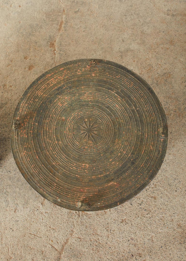 20th Century Pair of Burmese Bronze Rain Drums or Frog Drum Tables For Sale