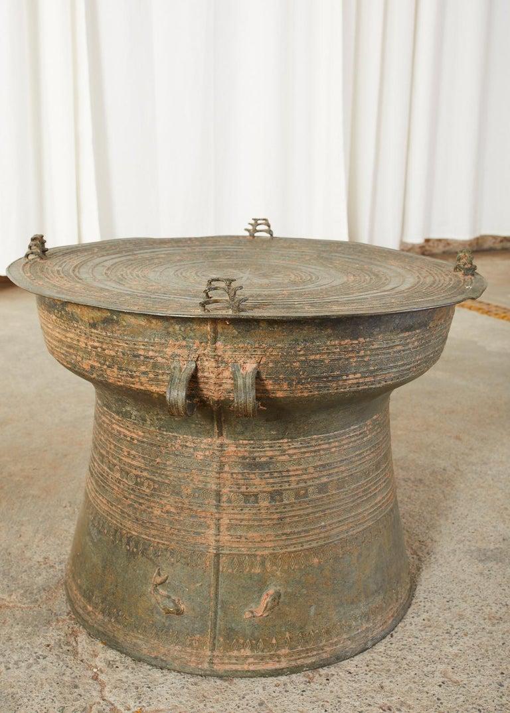 Pair of Burmese Bronze Rain Drums or Frog Drum Tables For Sale 1