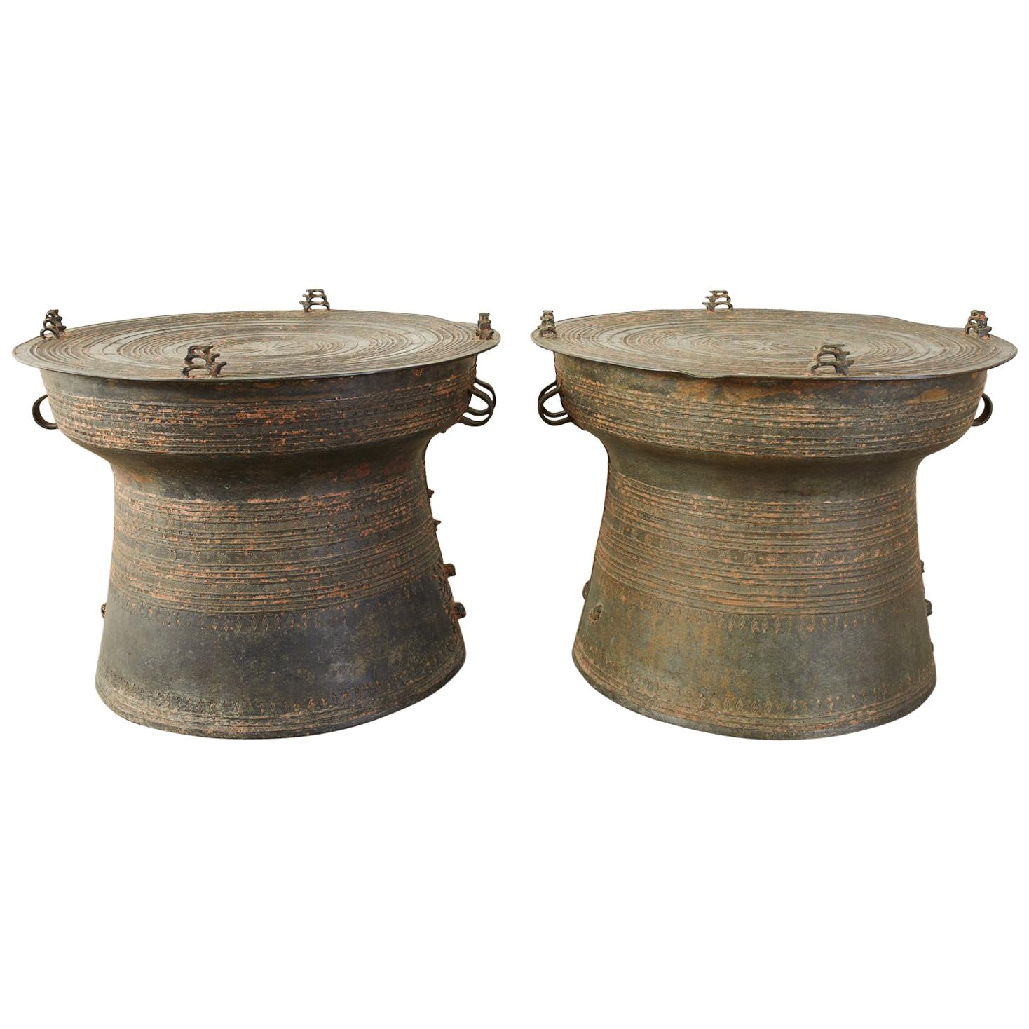 Pair of Burmese Bronze Rain Drums or Frog Drum Tables