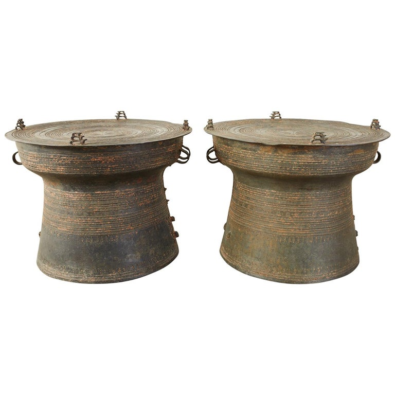 Pair of Burmese Bronze Rain Drums or Frog Drum Tables For Sale