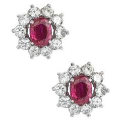 Pair of Burmese Rubies and Diamond Cluster Earrings