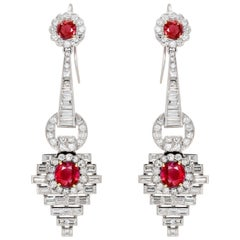 Pair of Burmese Ruby and Diamond Earrings