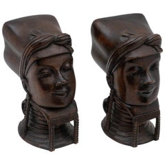 Pair of Burmese Wooden Bookends or Busts