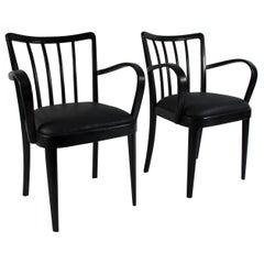 Pair of Burned Midcentury Design Chairs, Austria, circa 1950-2019