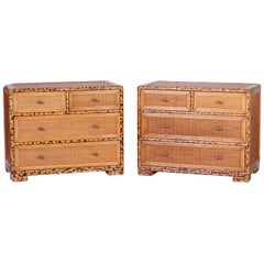 Pair of Burnt Bamboo and Grasscloth Chests