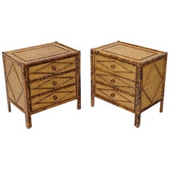 Pair of Burnt Bamboo and Rattan Three-Drawer Small Chests End Table Stands