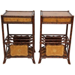 Pair of Burnt Bamboo Side Tables