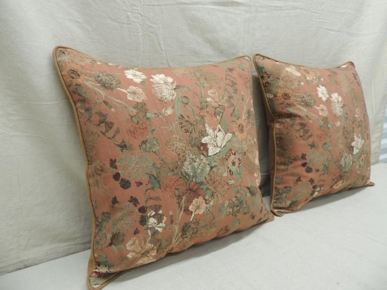 Country Pair of Burnt Orange Floral Square Modern Decorative Pillows For Sale