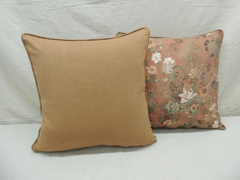 Hand-Crafted Pair of Burnt Orange Floral Square Modern Decorative Pillows For Sale
