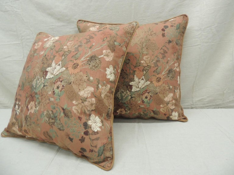Contemporary Pair of Burnt Orange Floral Square Modern Decorative Pillows For Sale
