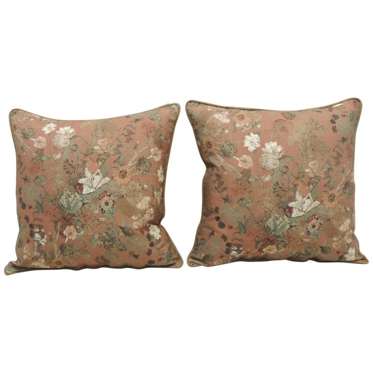Pair of Burnt Orange Floral Square Modern Decorative Pillows For Sale