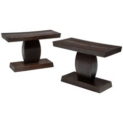 Pair of Burnt Pinewood Stools by WH Studio