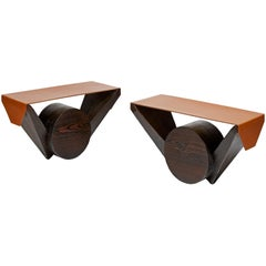 Pair of Burnt Pinewood Stools with a Seat in Havana Leather