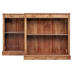 Pair of Burr Elm Low Adjustable Bookcases