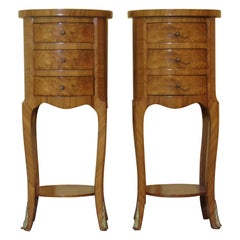 Pair of Burr Elm Ormolu mounted Bedside Cabinets