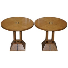 Pair of Burr Satinwood Round Side Tables Four Pillar Base Biedermeier Style
