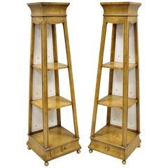 Pair of Burr Walnut Pyramid Obelisk Form Small Curio Display Pedestal Stands