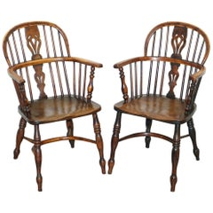 Pair of Burr Yew Wood and Elm Windsor Armchairs circa 1860 English Country House