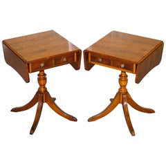 Pair of Burr Yew Wood Extending Side End Lamp Wine Tables Bevan Funnell Drawers