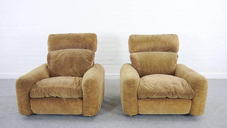 Italian Pair of Busnelli Piumotto Easy Chairs by Architect Arrigo Arrigoni, Italy