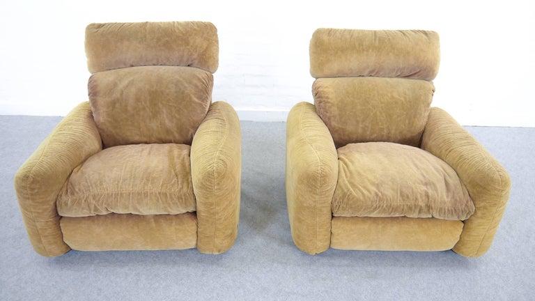 Late 20th Century Pair of Busnelli Piumotto Easy Chairs by Architect Arrigo Arrigoni, Italy