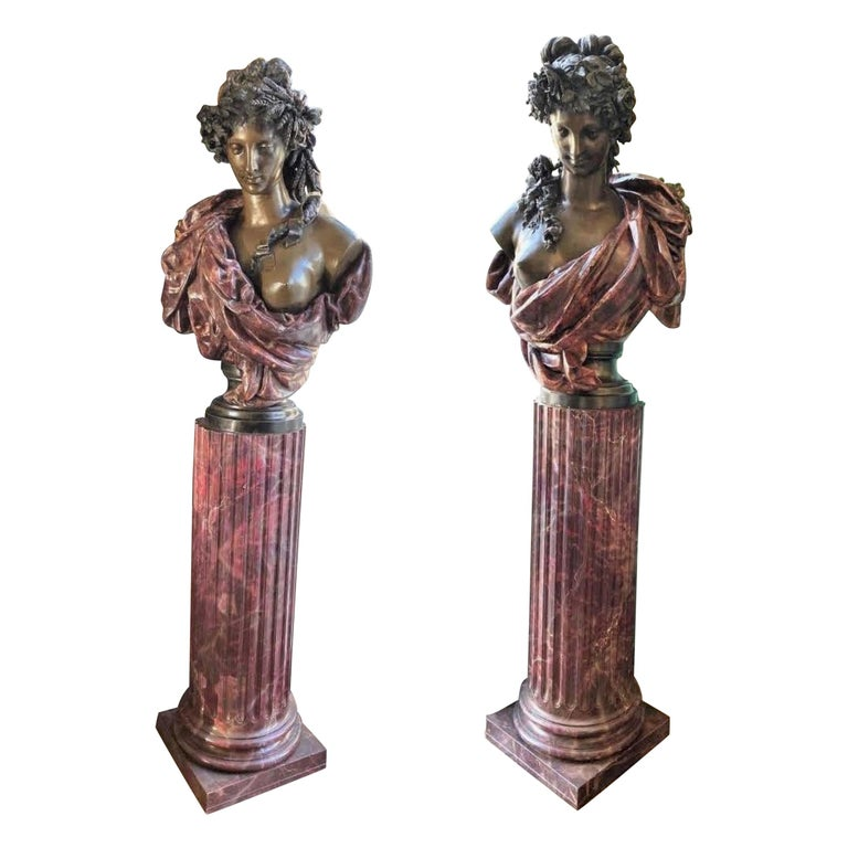 Pair Bust Depicting Summer & Spring Sculptures Statues on Pedestals LA Antiques For Sale