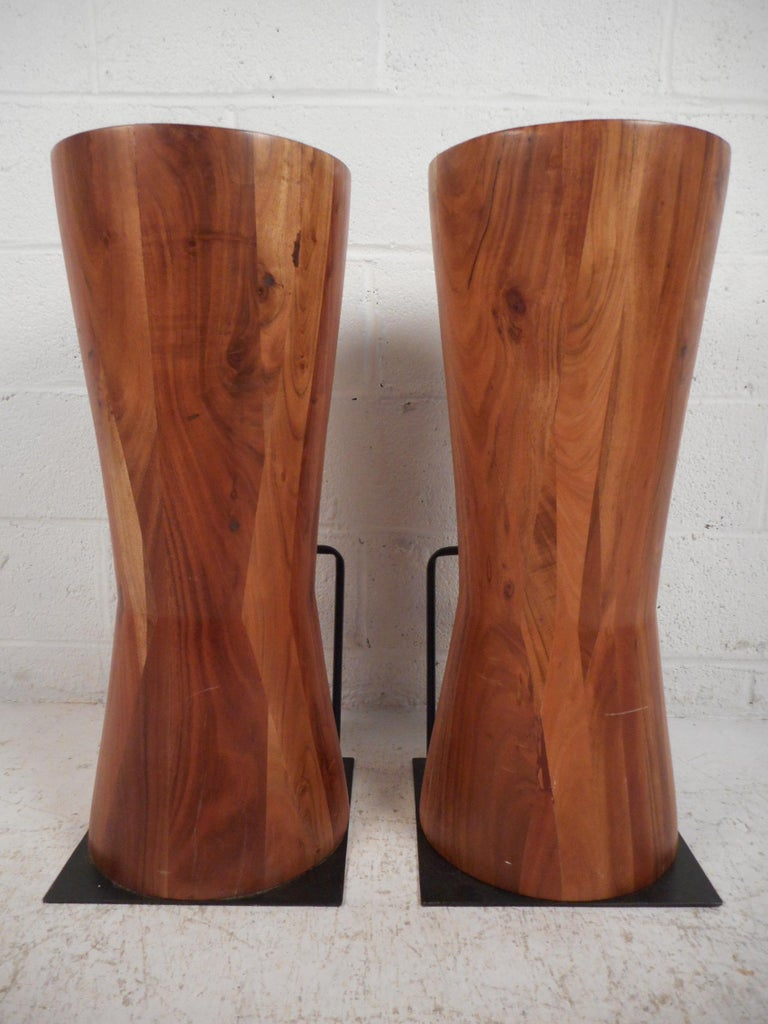 Modern Pair of Butcher Block Style Bar or Counter Stools For Sale