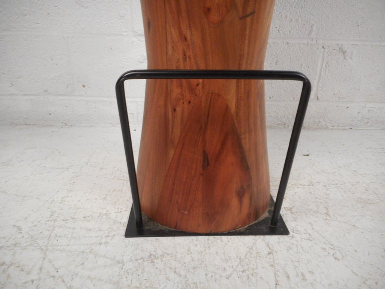 Metal Pair of Butcher Block Style Bar or Counter Stools For Sale